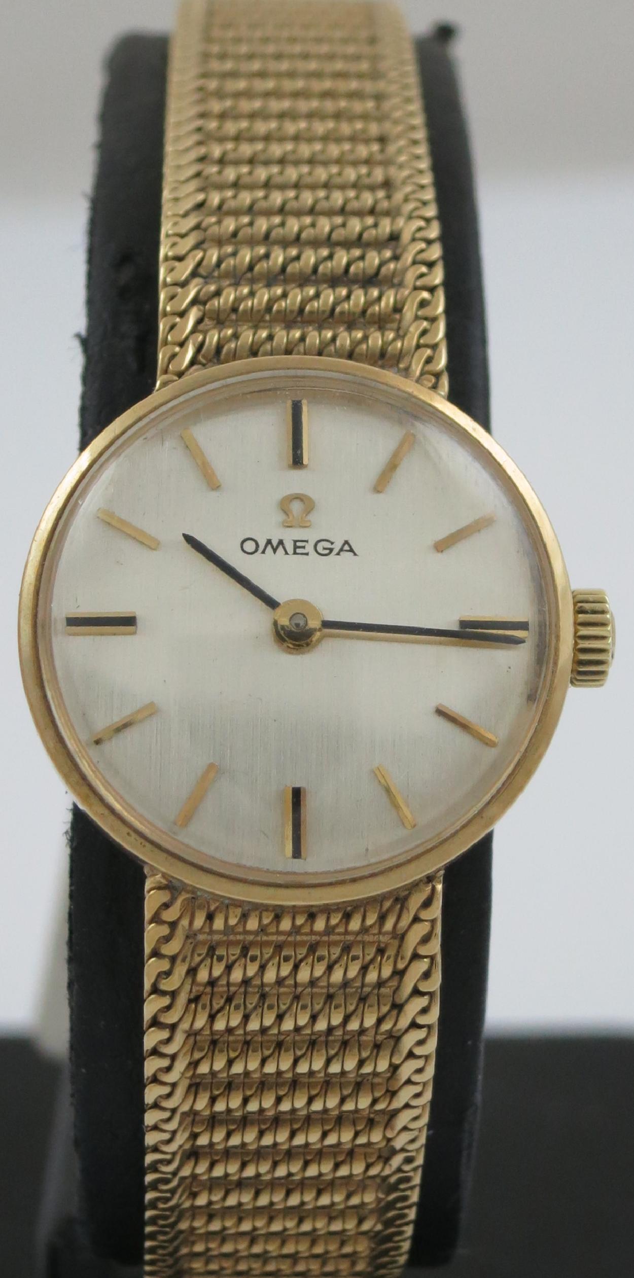 LADIES OMEGA MECHANICAL 9CT GOLD BRACELET WATCH