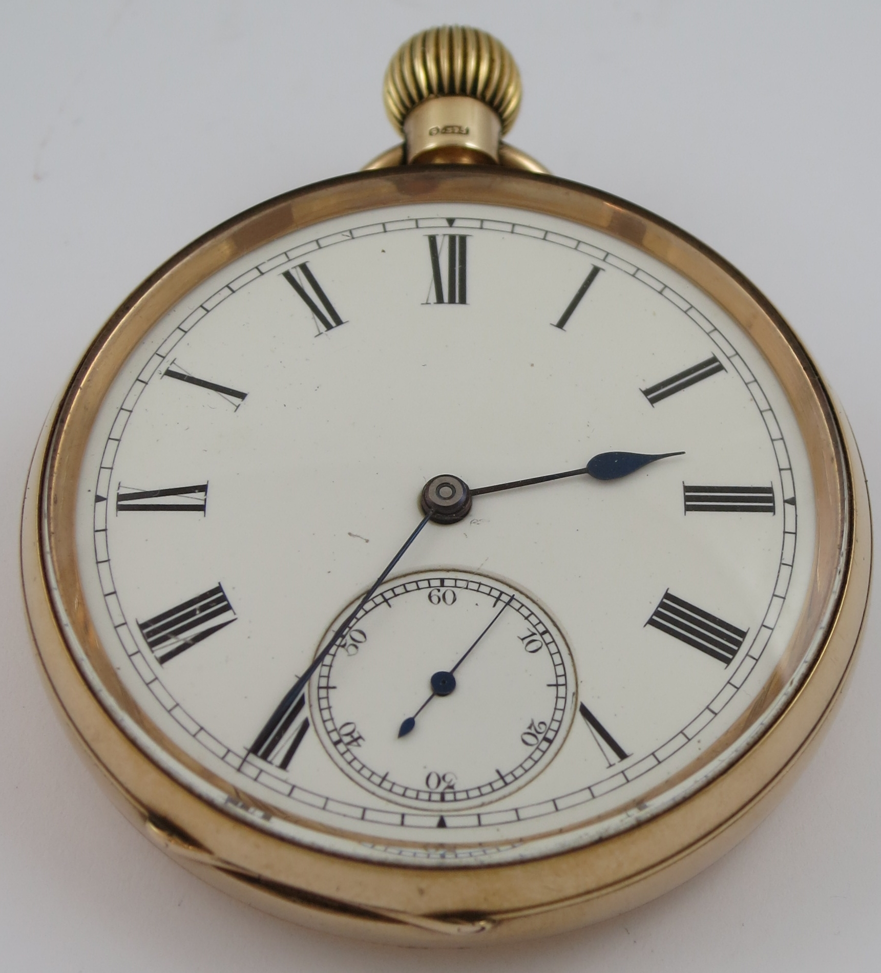 VINTAGE SMITHS 9CT GOLD CASE MECHANICAL OPEN FACE MECHANICAL POCKET WATCH