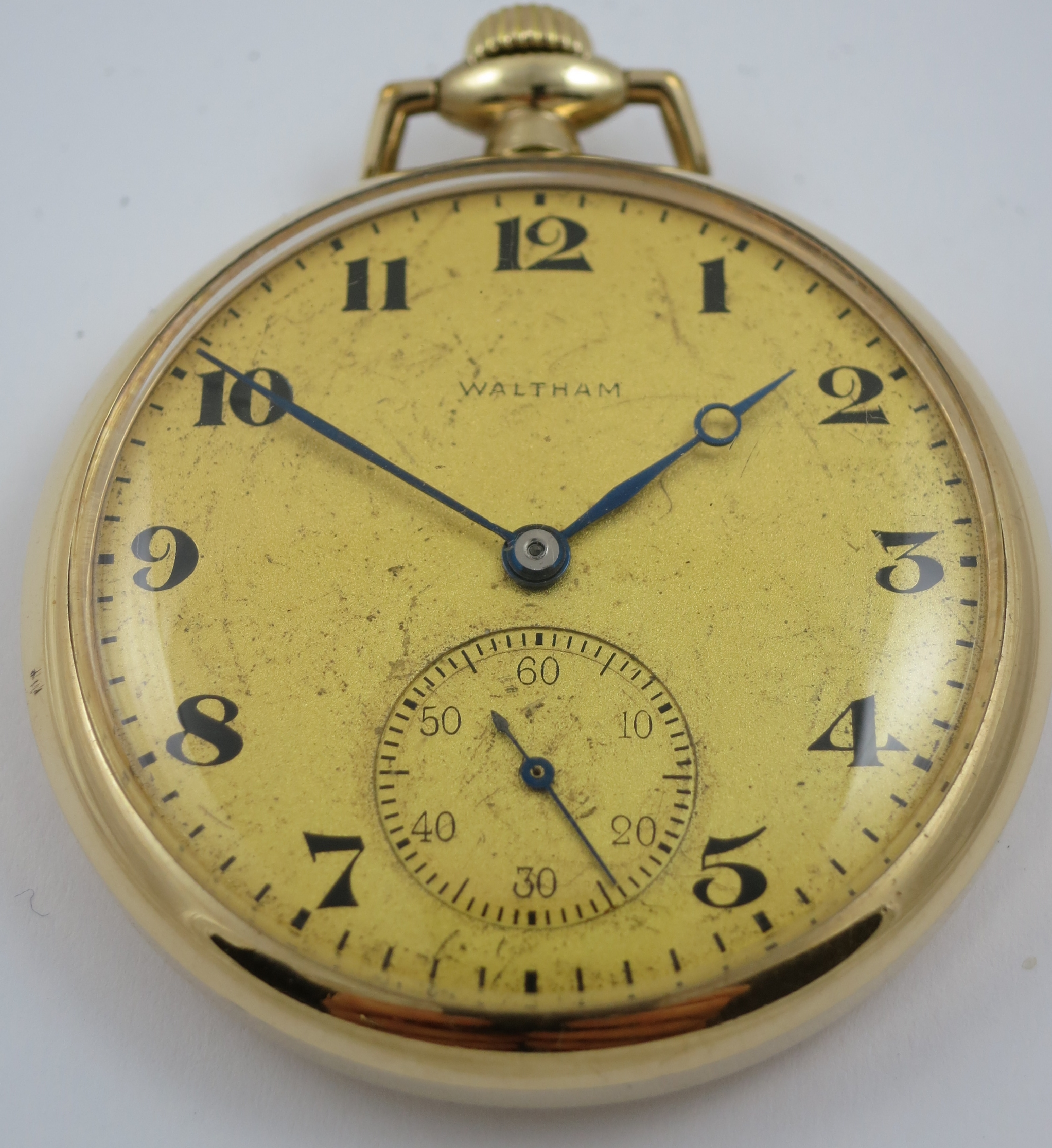 CIRCA 1920`S WALTHAM GOLD PLATED MECHANICAL OPEN FACE POCKET WATCH