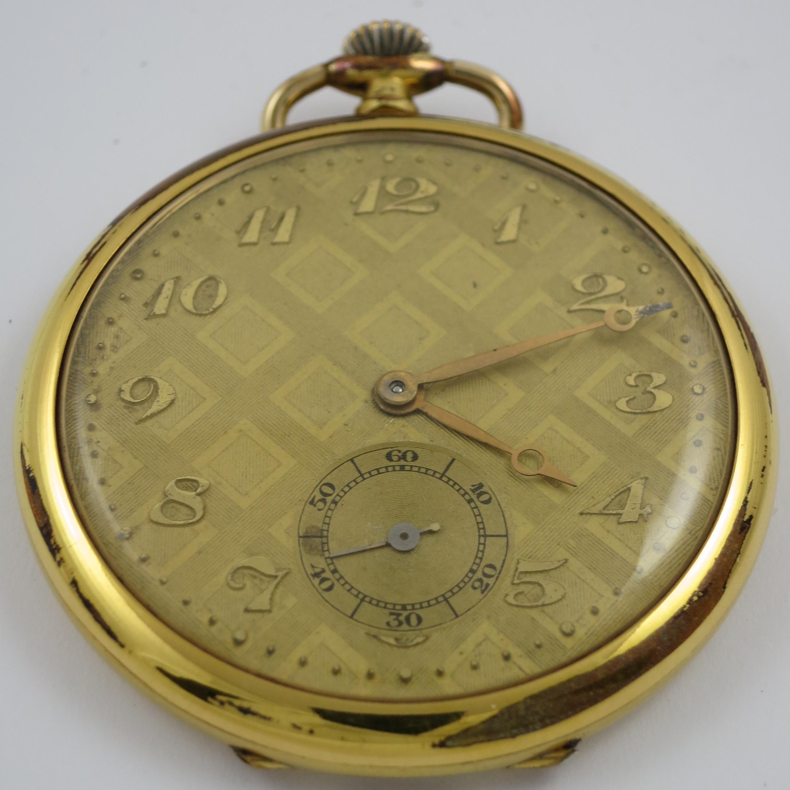 CIRCA 1940-1950 RODE GOLD PLATED MECHANICAL OPEN FACE POCKET WATCH