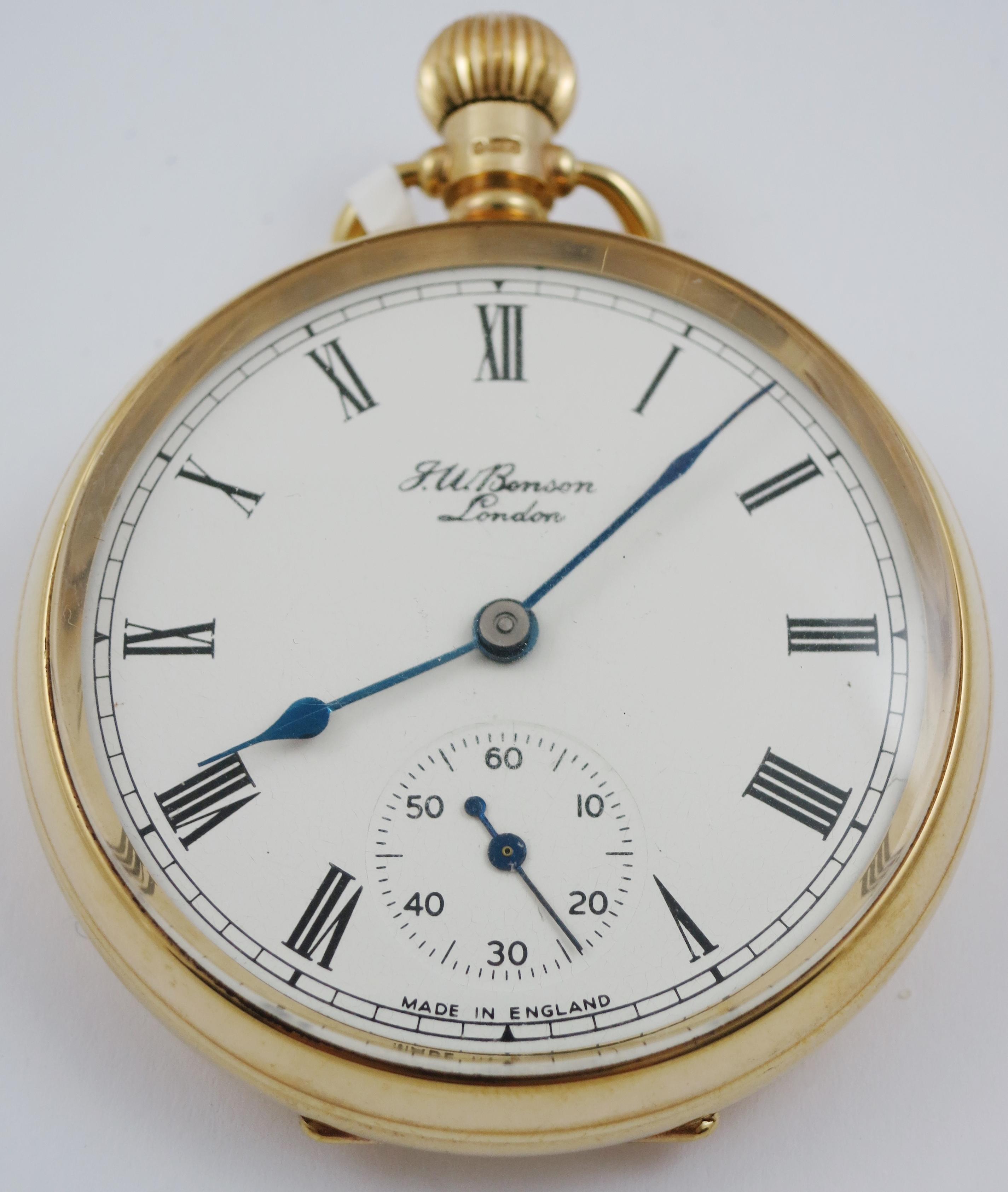 CIRCA. 1951 9CT GOLD JW BENSON LONDON OPEN FACE POCKET WATCH