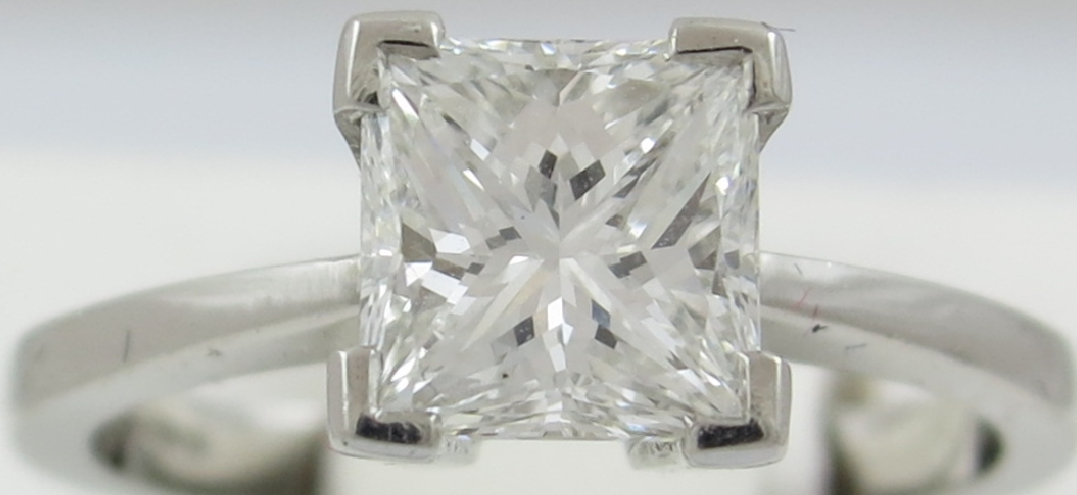 Diamond Princess Cut Solitaire Ring