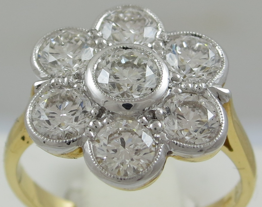 Diamond Seven stone Daisy Style cluster ring