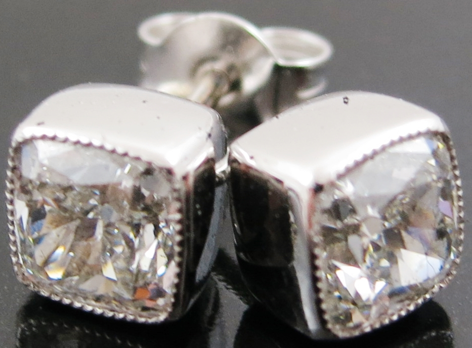 Pair of Diamond Solitaire Stud Earrings