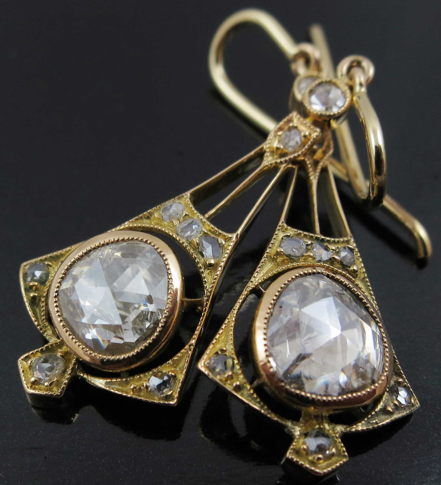 Vintage Style Diamond Drop Earrings