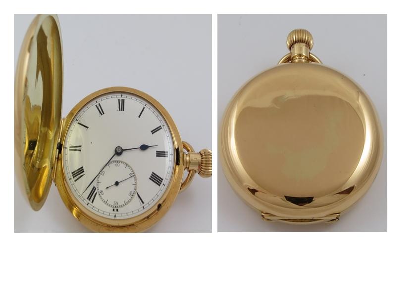 EARLY 1900 18CT GOLD STAUFFER, SON CO. SWISS FULL HUNTER MECHANICAL POCKET WATCH