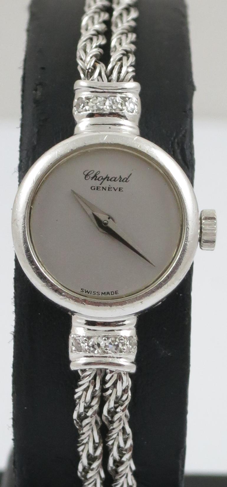 LADIES CHOPARD BY KUTCHINSKI 18CT WHITE GOLD AND DIAMOND SET MECHANICAL COCKTAIL WATCH